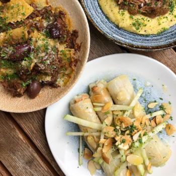 Celeriac Canneloni, Venison ravioli, braised lamb & polenta