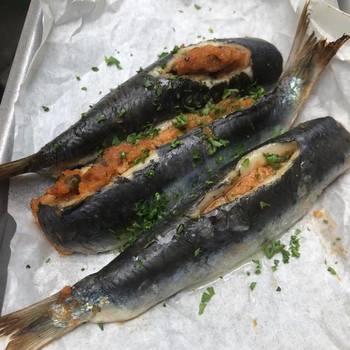 Stuffed Cornish sardines with pangrattato, olives, lemon & tomatoes