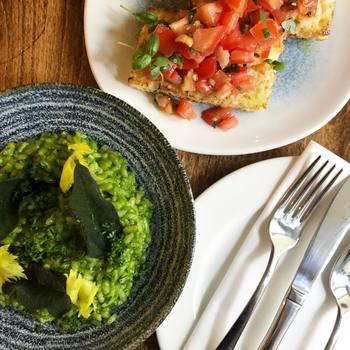 Bruschetta and herb and pecorino risotto